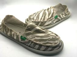 SANUK Animal Print Flats Loafers Boat Shoes Womens 8 Canvas