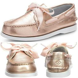 SPERRY Authentic Original Satin Lace Boat Shoes Rose Gold Si