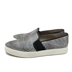 B41 Vince Womens 8 M Gray Black Leather Slip On Shoes Boat S
