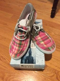 Sperry Bahama Pink Plaid Boat Shoes Size Girls 5 Women's 7