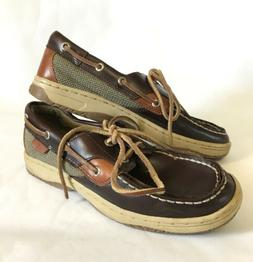 Sperry Boys Boat Shoes Size 3.5 M Brown Genuine Leather Canv