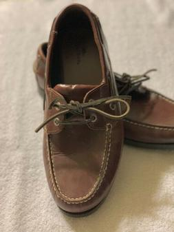 DOCKERS Castaway Brown Leather Boat Loafers Shoes 090-1449 M