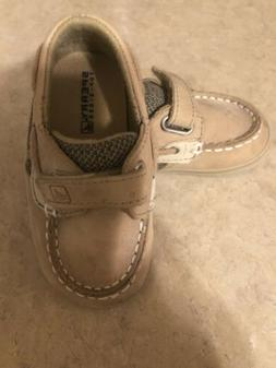 Sperry Infant Baby 4 M Brown Leather Boat Shoes Deck Bluefis