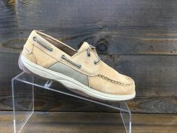 Sperry Intrepid Boys Beige Leather Casual Boat Shoes Kids Si