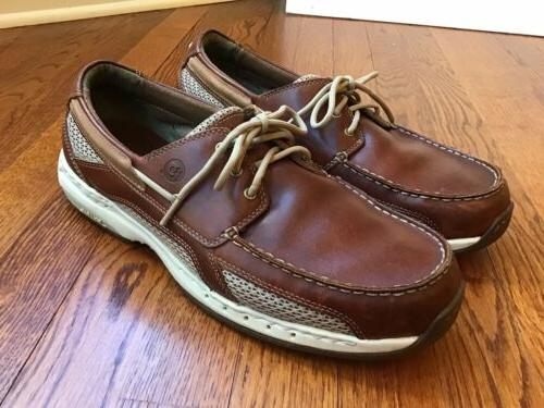mens captain brown leather and mesh boat