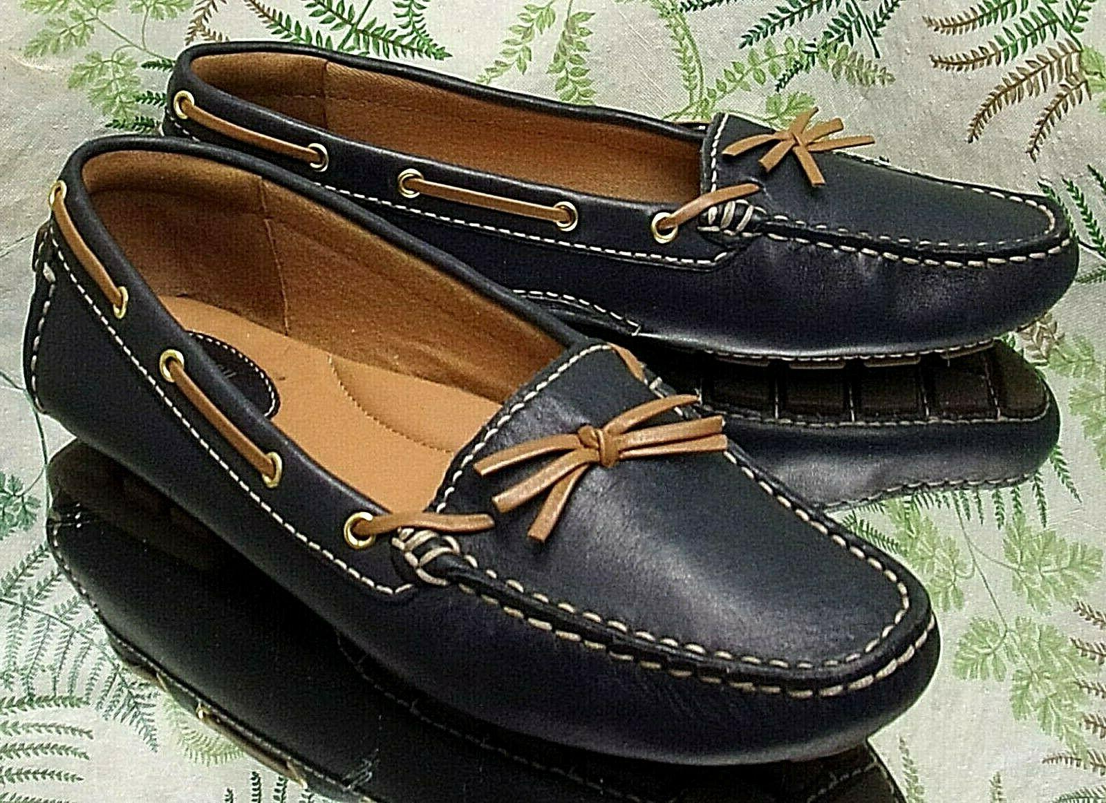 navy blue leather loafers slip ons boat