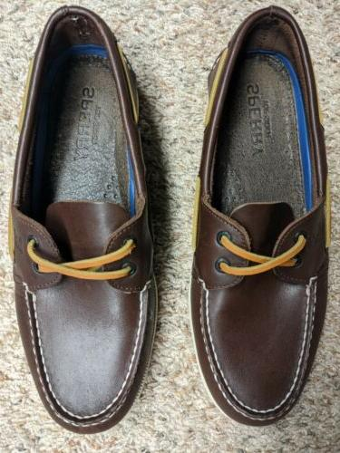 sperry top sider brown leather boat deck