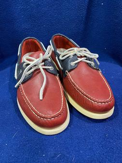 Men's Sperry Top Sider Boat Shoes Red Leather Size 12M New N