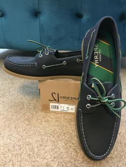 Men's Sperry Top-Sider Genuine Leather Boat Shoes Navy Blue