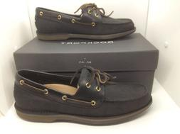 ROCKPORT Mens Perth Black Leather Casual Deck Boat Shoes Siz