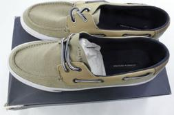 New Tommy Hilfiger Men's Phinx Canvas Boat Shoes Beige 11 M