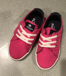 Sperry Pink Toddler Girls Canvas Boat sneaker Shoes Size 7