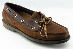Rockport Shoes Sz 9.5 M Round Toe Brown Boat Shoe Leather Me