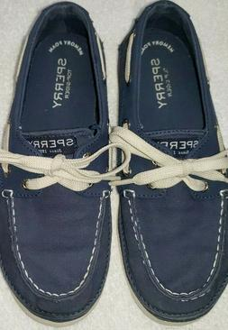 Sperry Top-Sider Boys Blue Canvas Boat Shoes - Size 2.5 M