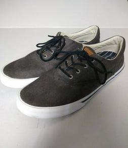 Sperry Top Sider Canvas Sneakers 9 M Mens Grey Boat Shoes No