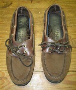 Sperry Top-Sider Men's 2-Eye Authentic Brown Boat Shoes Sz 8
