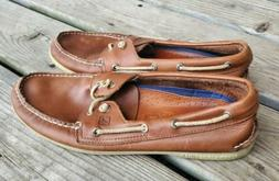 Sperry Top Sider Mens Boat Shoes 11.5 M Tan White Sole