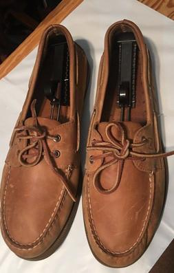 SPERRY TOP-SIDERS, MEN'S SZ 13 W, TAN LEATHER BOAT SHOES