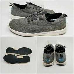 TOMS Gray Canvas Lace Up Low Top Boat Slider Sneakers Shoes
