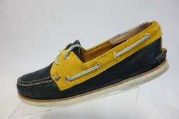 SPERRY TOP-SIDER Gold Cup A/O 2-Eye Blue/Yellow Sz 10 M Men