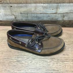 Sperry top spider mens 9.5M brown leather 2 eye lace up rubb