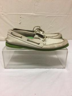 Vintage Sperry Top Sider Mens White Leather Boat Deck Shoes