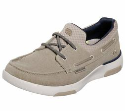 Skechers Wide Fit Taupe Shoe Men Comfort Slip On Casual Canv