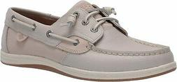 Sperry Women's Songfish Saffiano Leather Boat Shoe, Ivory, 8